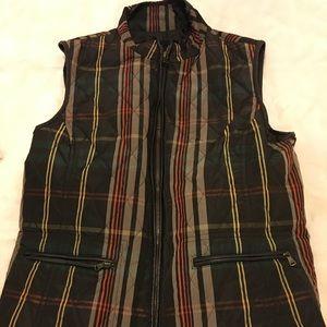 Talbots Multicolor Zip Up Plaid Puffer Vest